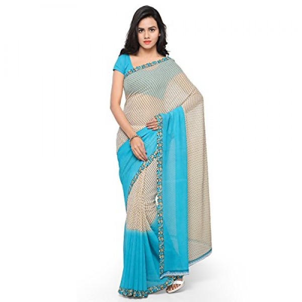 Georges Sky Blue Printed Faux Georgette Saree With Blouse Piece