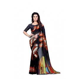 Kashvi sarees Faux Georgette Printed Black Color With blouse piece ( 1349 )