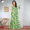 Bold Green Color Floral Printed Faux Georgette Saree With Blouse Piece