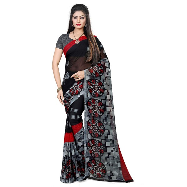 Kashvi Sarees Black Color Faux Georgette Saree With Unstitched Black Color Blouse Piece (1469)