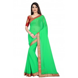 Kashvi Sarees Chiffon Solid Plain Saree With Lace Border And Unstitched Red Color Jacquard Blouse Piece 1470