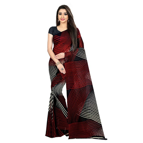 Kashvi Sarees Black Color Faux Georgette Saree With Unstitched Black Color Blouse Piece (1472)