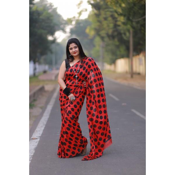 Polka Print, Printed Daily Wear Georgette Saree  (Red, Black)