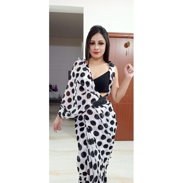 Polka Print, Printed Daily Wear Georgette Saree  (White, Black)