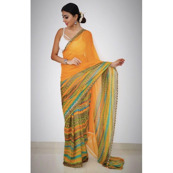 Paisley, Striped, Floral Print Daily Wear Georgette Saree  (Yellow)