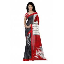 Cherry Red and White Flower Printed Faux Georgette Saree With Blouse Piece