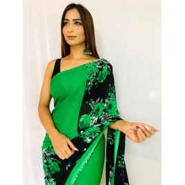 Floral Print Daily Wear Georgette Saree  (Green)