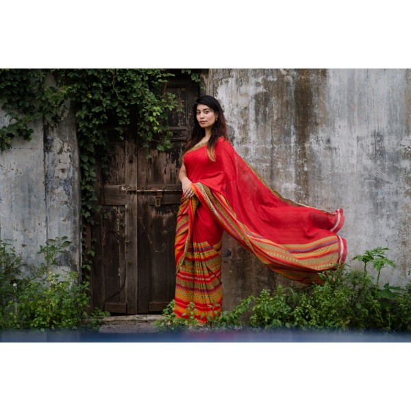 Paisley, Striped, Floral Print Daily Wear Georgette Saree  (Red)