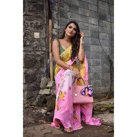 Floral Print Daily Wear Georgette Saree  (Pink)