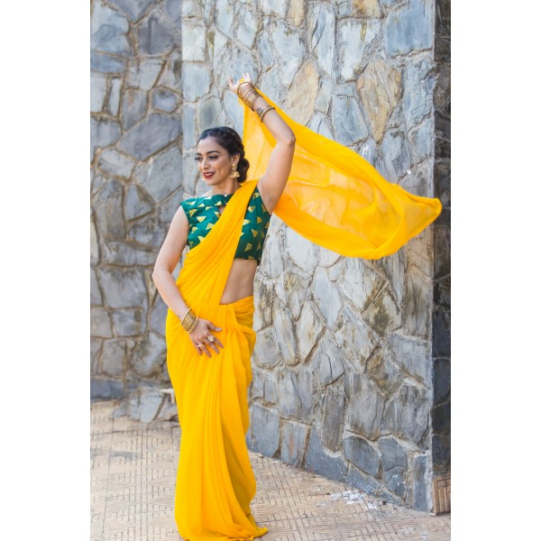 Plain Daily Wear Poly Georgette Saree  (Yellow)