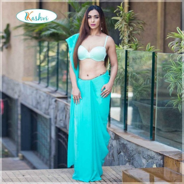 Plain Daily Wear Poly Georgette Saree  (Light Blue)