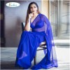 Plain Daily Wear Poly Georgette Saree  (Purple)