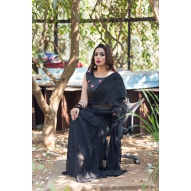 Plain Daily Wear Poly Georgette Saree  (Black)
