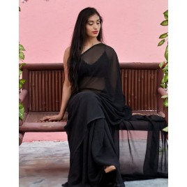 Plain Daily Wear Poly Georgette Saree  (Black)