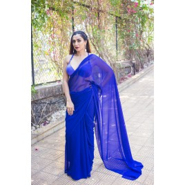 Plain Daily Wear Poly Georgette Saree  (Blue)
