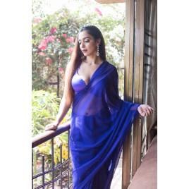 Plain Daily Wear Poly Georgette Saree  (Blue)