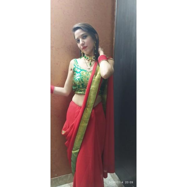 Embellished Bollywood Chiffon Saree  (Red)