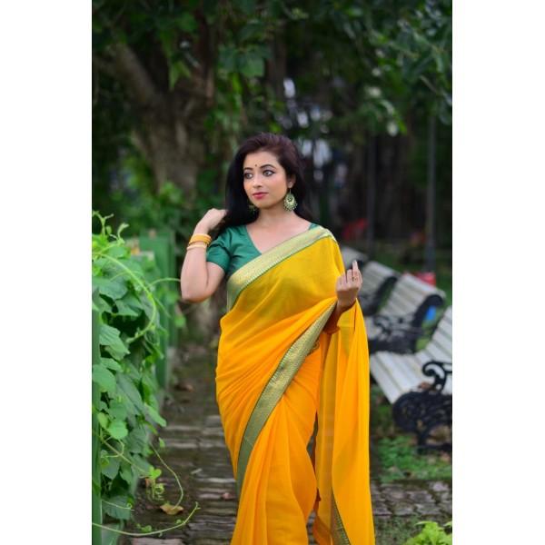Embellished Bollywood Chiffon Saree  (Yellow)