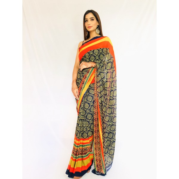 Paisley, Striped Daily Wear Georgette Saree  (Blue)