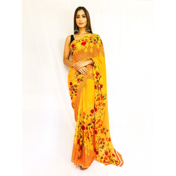 Ombre, Striped, Floral Print, Checkered Daily Wear Georgette Saree  (Yellow)