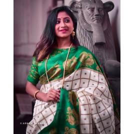 Animal Print, Checkered Bhagalpuri Silk Blend Saree  (Green, White)