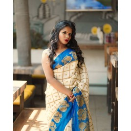 Animal Print, Checkered Bhagalpuri Silk Blend Saree  (White, Blue)