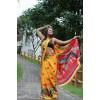 Printed, Animal Print, Floral Print Bhagalpuri Silk Blend Saree  (Yellow)