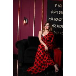 Printed Daily Wear Georgette Saree  (Red, Black)