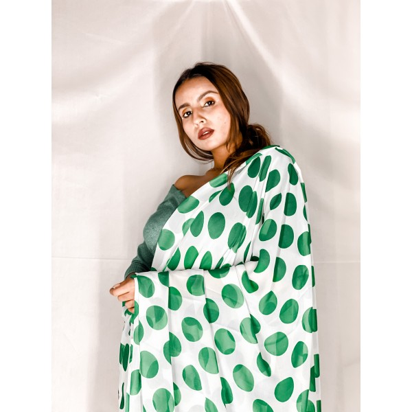 Polka Print, Printed Daily Wear Georgette Saree  (White, Green)