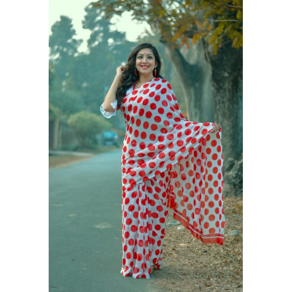 Polka Print, Printed Daily Wear Georgette Saree  (White, Red)