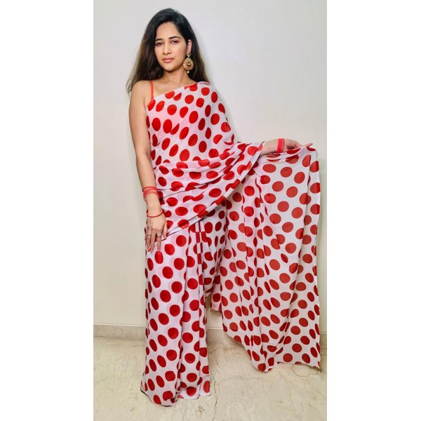 Printed Daily Wear Georgette Saree  (White, Red)